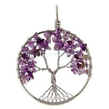 Wire Wrapped Tree of Life Natural Gemstone Chips Pendant Jewelry Necklace DIY
