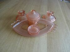 Vintage Art Deco Pink Peach Glass Dressing Table Set & Tray