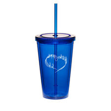 16oz Double Wall Acrylic Tumbler Cup Mug w/ Straw Heart Love Music Notes