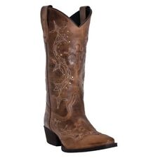 Laredo Womens Cross Point Cowboy Western Snip Toe Leather Boots Burnt Rust 52033