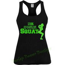 Womans Racerback Tank Top Graphic Funny Saying STRONG WOMAN SQUAT WORK OUT
