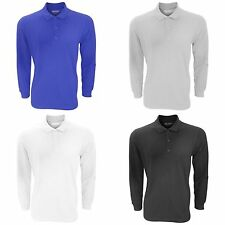 Gildan Mens Long Sleeve Premium Cotton Double Pique Polo Shirt
