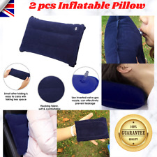 2x BLUE INFLATABLE PILLOW CAMPING TRAVEL SOFT BLOW-UP UK