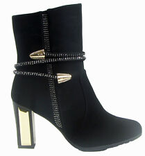 NEW LADIES WOMEN NIGHTOUT CASUAL  BLACK SUEDE CHUNKY HIGH ANKLE BOOT SIZE 3 - 8