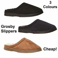 GROSBY Tobias Mens Slippers BLACK NAVY CAMEL Slipper Shoes Woolly Size S M L XL