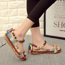 Colorful Women's Beading Round Toe Embroidered Shoes Casual Flats Shoes Hot New