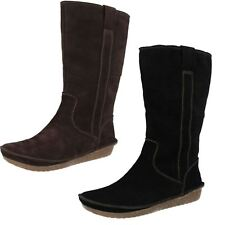 Ladies Clarks Warm Lined Suede Leather Long Boots - Lima Rhapsody