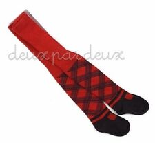NWT Deux par Deux Neige red/black  Plaid Tights girls 4-5 y, 8-10y.old style NC3