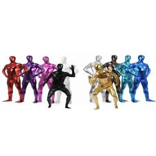 Metallic Full Bodysuit Lycra Spandex Zentai Costume Hooded Mask Skin Tight Suit