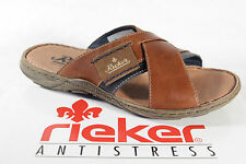 Rieker Mules Pantolette Clogs brown soft leather insole leather new