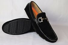 BLACK MENS ITALIAN TRIM LOAFERS MOCCASIN CASUAL PARTY SLIP ON SHOES