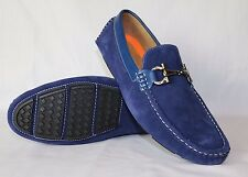NAVY MENS ITALIAN TRIM LOAFERS MOCCASIN CASUAL PARTY SLIP ON SHOES
