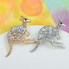 Women Crystal Kangaroo Brooch Silver Gold Plated Vintage Brooch Animal Jewelry