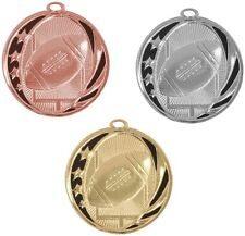 FOOTBALL MEDALS GOLD SILVER BRONZE W/ NECK RIBBON MIDNIGHT STAR DESIGN