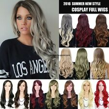 UK 1 Clip On Wig Cosplay Full Wigs Long Straight Curly Layer Premium Quality Red