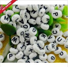 50pcs 4x7mm Acrylic Individual Alphabet Letter Coin Round Flat Spacer Beads