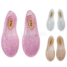 Women Hollow Out Jelly Shoes Breathable Glitter Ballet Flats Beach Sandals