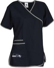 Seattle Seahawks Women's Mock Wrap Scrub Top