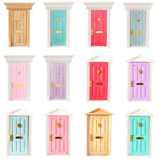 Doll House Miniature Classical Exterior/Interior Wood Door & Frame DIY Fittings