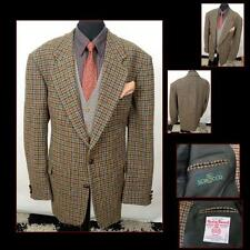HARRIS TWEED Brown Dogtooth Check Country Wedding Hacking Jacket 48 EXTRA LONG