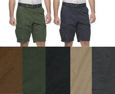 Sonoma Mens Cargo Shorts Belted solid cotton flat Big Tall size 46 48 50 NEW