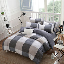 Brown Checked Home Single Queen King Size Bed Set Pillowcase Quilt Duvet Cover L
