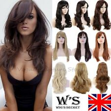 Sexy Ladies Wig Full Wigs Cap Hair Nets Long Curly Wavy Fancy Dress Medium Brown
