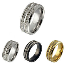 Sz6-13 Stainless Steel Rings Wedding Men's Women's Band Titanium CZ Black Silver
