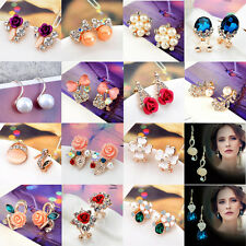 1 Pair Womens Elegant Crystal Rhinestone Ear Stud Earrings Rose Flower Jewelry