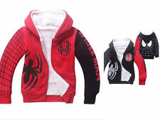 Marvel Spiderman Costume Kids Boys Girls Winter Thick Zipper Hoodies Coat Jacket