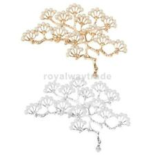 Elegant Branch Women Lady Diamante Pearl Vintage Large Brooch Pin Wedding Prom