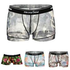 Sexy Men Mesh Voile See Through Rose Flower Underwear Boxer Briefs Shorts Trunks