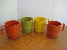 SET 4 Vtg 70s Tupperware Coffee MUGS Cups #1312 Stacking ASSORTED Harvest Colors