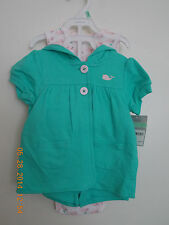 GIRLS TODDLER 3 PIECE CARTERS CARDIGAN SET.  SIZE 18 MONTHS. NEW WITH TAGS.