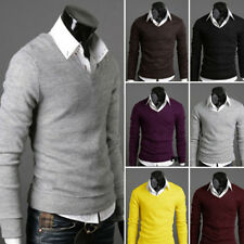 Mens Casual Slim V-neck Pullover Coat Sweater Shirt Jumper Cardigan Sweatshirt