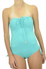 NWT Juicy Couture Sky Bandeau One-Piece Maillot Shirred Halter Swimsuit Y78821
