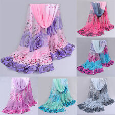 Women Rose Flowers Long Chiffon Soft Neck Scarves Beach Wrap Shawl Stole Scarf