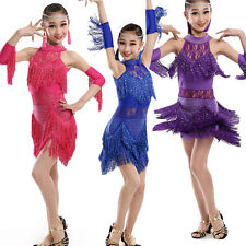 Black Girls Sequined Latin Dance Dress Kids CompetitionTassles dancing Costumes