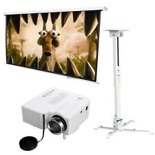 Projector Ceiling Wall Mount+Projector+Manual Pull Down Projector Screen Pro Set