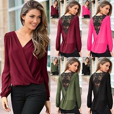 Sexy Women Ladies Lace Crochet Hollow Out V Neck Casual Top Shirt Blouse T-Shirt
