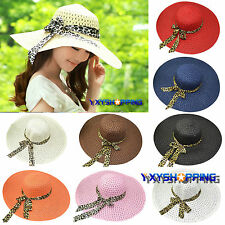Womens Summer Holiday Beach Wide Large Brim Floppy Derby Hats Folding Cap Straw