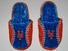 New York Mets Adult Size Fuzzy Non-Skid Himo Style Plush Slippers