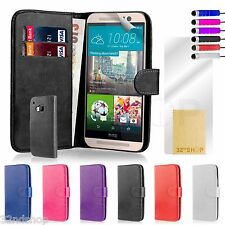 32nd Book Wallet Leather Case Cover for HTC One M9 + Screen Protector & Stylus