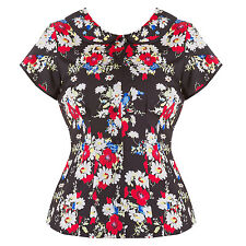 Hell Bunny Heather Black Red Floral Chiffon Vintage 40s 50s Womens Blouse Top