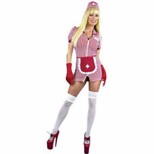 Adult Sexy Double Zip Candy Stripe Nurse Costume
