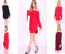 New Womens Off The Shoulder Curved Hem Top Ladies Long Sleeves Bardot Mini Dress