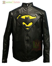 LNJ Batman Vs Superman Embossed Logo Jacket Real Leather