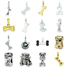 Sterling Silver & 14K Gold Dog Bone Charm Pendant Jewelry Charms