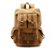 Multi-Function Canvas Leather Hiking Travel Bag Portable Camera Carry Backpack