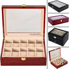20/24 Slot Leather Jewelry Watch Display Case Box Storage Holder w/Pillow HE8Y